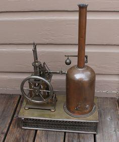 ANTIQUE Vintage Salesman Sample Vertical Live Steam Engine & Boiler Steam Plant