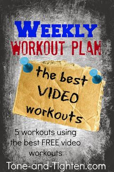 Weekly Workout Plan on Tone-and-Tighten.com- this week is all about at-home video workouts. I have 5 of the BEST free workouts for you!