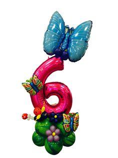 centro tavola numero 6 con mailer tema farfalle Balloon Arrangements, Balloon Centerpieces, Balloon Decorations, Balloon Birthday Themes, Birthday Party Decorations, Love Balloon, Balloon Gift, Number Balloons, Letter Balloons