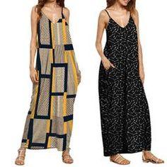 Sleeveless Long V Neck Print Maternity/ Postpartum Dress