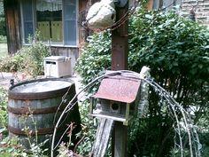 old log cabin look birdhouse we made