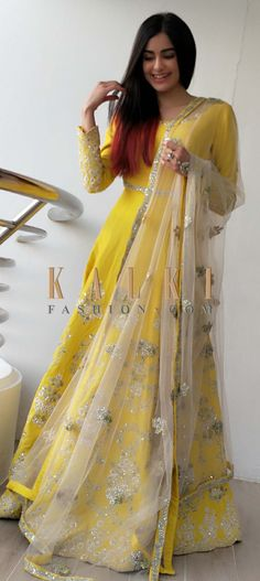 Look every inch like a style diva in this yellow silk gown. The gown features gotta lace, thread embroidery and sequins on the round neckline, sleeve Diwali Dresses, Diwali Outfits, Indian Dresses Online, Indian Gowns Dresses, Dresses To Wear To A Wedding, Dresses For Work, Dress Work, Work Outfits, Wedding Wear