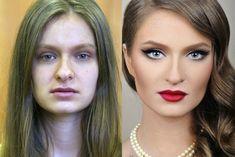 Ensaio+mostra+fotos+do+antes+e+depois+da+maquiagem