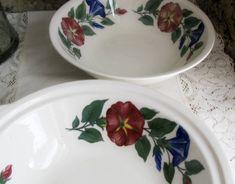 Shenandoah Valley Ware, Made in USA, Cottage Morning Glory Serving Bowls, Vintage 2pc Set, Gift For Her