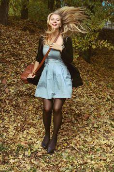 denim dress, black leggings, black cardi :)