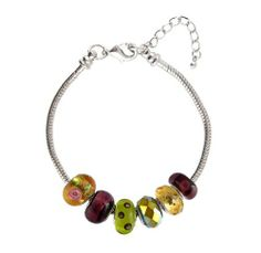 """""""Pandora"""" / European Style Starter Bracelet + 6 Beads - 8.25"""" (21 cms) - Silver Tone Metal ~ Green, Gold and Purple (FB174) Serenity Crystals, Inc.. $16.99. Trendy, affordable and beautiful... Lobster claw end of bracelet unscrews so you can add or remove beads easily... Core is rhodium plated and measures approximately 4mm... Made of glass.... Fits all Pandora, Biagi, Chamilia, Troll and other similar style European master bracelets... Save 62% Off!"""