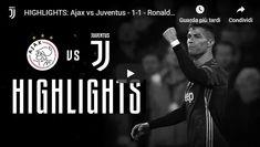Ajax - Juventus 1-1 Guarda Gol e Highlights AJAX - JUVENTUS 1-1 GOL E HIGHLIGHTS: alla Johan Cruijff Arena la Juventus chiude il primo tempo in vantaggio sull'Ajax grazie a un gol di testa di Cristiano Ronaldo ma al rientro in campo Neres non perdona un errore a Cancelo e pareggia. Nel finale Douglas Costa fermato dal palo. Ammonito Tagliafico: era diffidato, salterà il ritorno a Torino. 45' Ronaldo (J), 46' Neres (A) AJAX (4-3-3): Onana;  #ajax #juventus #video #calcio #gol Douglas Costa, Torino, Cristiano Ronaldo, Champions League, Video, 3, Movie Posters, Film Poster, Film Posters
