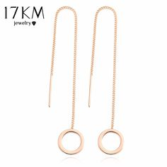 70dc4655c 17KM Vintage Punk Silver Color Long Tassel Dangle Earrings for Women Gold  Color Alloy Round Drop Bar Statement Jewelry-in Drop Earrings from Jewelry  ...