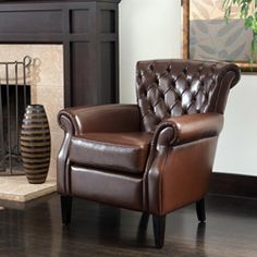 @Overstock - The Franklin club chair has a classic look with modern curves and luxurious tufted leather that complements with every curve. This club chair is perfect for a den, living room, or even at the head of the dinner table.http://www.overstock.com/Home-Garden/Franklin-Brown-Tufted-Bonded-Leather-Club-Chair/5036238/product.html?CID=214117 $227.33