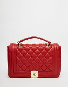 Love Moschino Quilted Shoulder Bag with Chain Strap in Red