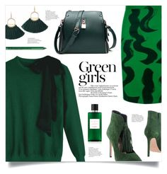 """Monochrome: Green Girls"" by mahafromkailash ❤ liked on Polyvore featuring Anna F., Green Girls and NYX"