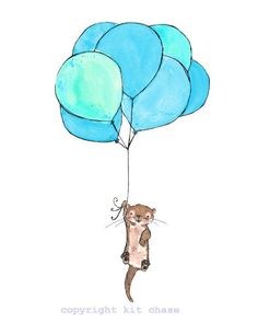 Otter Balloons -- 8x10 Archival Print -- Children's Art. $20.00, via Etsy.