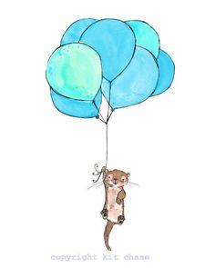 Otter Balloons  8x10 Archival Print  by trafalgarssquare on Etsy, $20.00