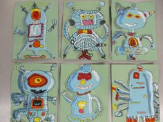 Toney's Art Class: Take Me To Your Leader. robot paintings with highlight and shadow Informations About Mrs. Toney's Art Class: Take Me To Your Leader. robot paintings with highlight a. Classroom Art Projects, School Art Projects, Art Classroom, Art Lessons For Kids, Art Lessons Elementary, Art For Kids, Robot Painting, 3rd Grade Art Lesson, Creation Art