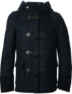 $1,057, Navy Duffle Coat: Comme des Garcons Junya Watanabe Comme Des Garons Man Short Duffle Coat. Sold by farfetch.com. Click for more info: https://lookastic.com/men/shop_items/82437/redirect