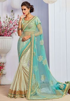 Net and Lycra Shimmer Half N Half Saree in Sky Blue and Off White Enhanced with Resham, Bead, Sequins, Dori and Patch Border Work Available with an Semi-Stitched Art Silk Blouse in Beige Free Services: Fall and Edging (Pico) Do Note: All accessories shown in image is for presentation purpose only(Slight variation in actual color vsimage is possible)