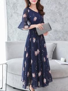 Fashion Chiffon V-Neck Flare Sleeve Print Maxi Dress – DressSurecom - Woman Dresses