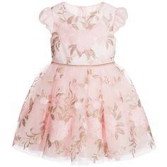 David Charles Pink Floral Tulle Dress at Childrensalon.com