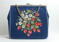 Vintage Tapestry Handbag / Oversize Needlepoint Handbag /
