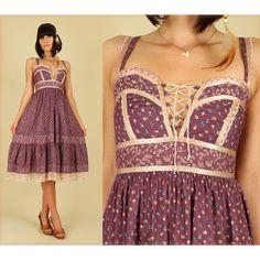 ViNtAgE 70's Gunne Sax Cotton HiPPiE Calico Sun Dress - Gunn ...