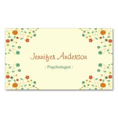 Psychologist - Chic Nature Stylish Double-Sided Standard Business Cards (Pack Of 100). Make your own business card with this great design. All you need is to add your info to this template. Click the image to try it out!