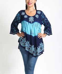 Loving this Blue & Turquoise Arabesque Tunic - Plus on #zulily! #zulilyfinds