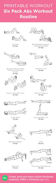 Six Pack Abs Workout Routine:my visual workout created at WorkoutLabs.com • Click through to customize and download as a FREE PDF! #customworkout