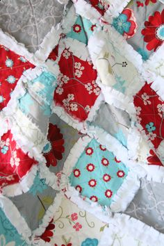 Baby Girl Minky Rag Quilt Seaside Cottage Red Aqua Gray Nursery Ready To Ship