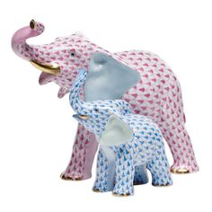 Herend Hand Painted Porcelain Figurine of Mama & Baby Elephants, Trunks Up. Mama is Done in Pink Fishnet Design and Baby in Blue Fishnet.  Gold Accents.