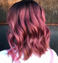 wedding hairstyles easy hairstyles hairstyles for school hairstyles diy hairstyles for round faces p Hair Color Purple, Hair Dye Colors, Cool Hair Color, Dark Pink Hair, Dusty Pink Hair, Rose Pink Hair, Funky Hair Colors, Violet Hair Colors, Cabelo Rose Gold