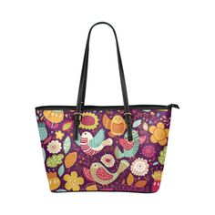 Cute Birds and Flowers Floral Pattern Leather Tote Bag/Large (Model 1651)