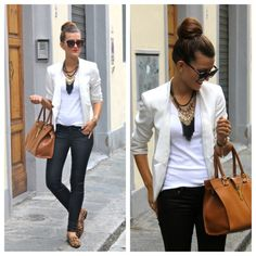 simple white on white combo with leather pants and leopard