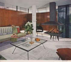1953 living room design.  love the coffee table