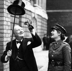Winston Churchill his daughter   Mary Spencer Churchill   in London 1943