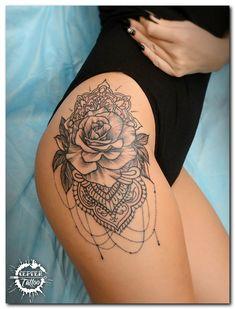 Photo tattoo Sergey Batalichev - Tattoos & Artwork - Tattoo Designs For Women Hip Thigh Tattoos, Side Hip Tattoos, Hip Tattoos Women, Flower Thigh Tattoos, Fake Tattoos, Sexy Tattoos, Body Art Tattoos, Sleeve Tattoos, Girl Tattoos
