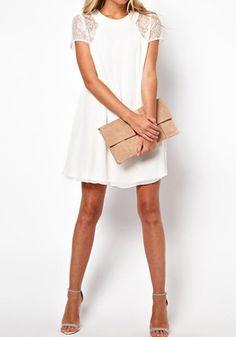 Encaje Vestido de gasa - Blanco - Gorgeous parcialmente vestido corto vestido
