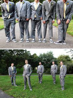 Brooklyn Botanic Garden Wedding // Brooklyn New York // New York Wedding // groom and groomsmen in grey suits, yellow ties and custom grey and black checkered vans