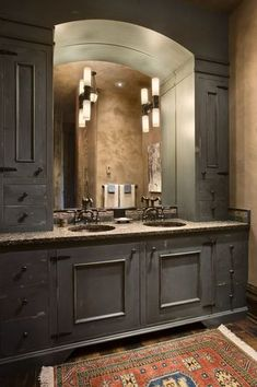 Eclectic Full Bathroom with Double sink, European Cabinets, Inset cabinets, Van Gogh Collection Costa Beach, Flush