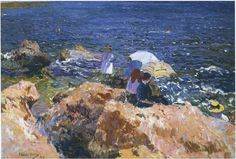 Rocks and white boat, Javea, Oil On Canvas by Joaquin Sorolla Y ...