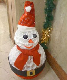 . . . . . How to Recycle: Recycled Snowman Christmas decor.