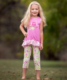 This Pink Owl Tunic & Green Capri Pants - Infant, Toddler & Girls is perfect! #zulilyfinds