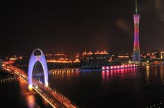 Canton Tower & Liede Bridge on Pearl River, Guangzhou, China