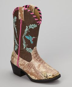 Take a look at this Tan Snake Hummingbird Cowboy Boot - Kids by Smoky Mountain Boots on #zulily today!