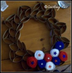Paper Toilet Roll Wreath - another idea is to make snowflakes with the rolls - they are very cute too