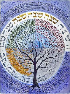 Maybe use runes instead of hebrew around a tree of life... need to research what period this illumination is from.