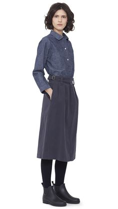 WOMEN AUTUMN WINTER 15 - Denim cotton Pocket Pull On Shirt MHL, granite cotton Cinched Waist Skirt MHL, navy Shetland wool Knee High Sock MHL, dark brown pvc Ankle Wellie MHL