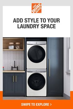 Samsung has taken better performance and technology and put it in a stylish, premium design perfect for any laundry space. Smart Dial remembers your most-used setting, making it easy to get your load started. Keep your washer and dryer smelling fresh with antimicrobial technology. Tap to shop Samsung's Smart Dial front load washer and dryer from The Home Depot. Mudroom Laundry Room, Laundry Room Remodel, Laundry Room Organization, Laundry Room Design, Laundry In Bathroom, Modern Laundry Rooms, Laundry Room Inspiration, Home Remodeling, House Design