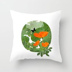 Orange Poppies Green Leaves White Background Throw Pillow by pivivikstrm Couch Pillows, Down Pillows, Floor Pillows, Orange Poppy, Pillow Sale, Designer Throw Pillows, Pillow Design, Pillow Inserts, Framed Art Prints