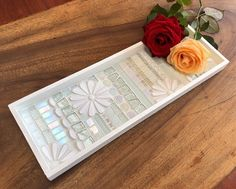 White serving tray glass mosaic on wood | Etsy White Serving Tray, White Tray, Candle Tray, Candles, How To Tie Ribbon, Daisy Pattern, Striped Background, Great Housewarming Gifts, White Paints