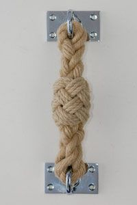 Rope door handle - but used as hand hold outside with nylon rope? Could I make this?